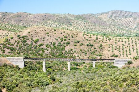 viaducts: railway viaduct near border of Portugal, Castile and Leon, Spain Stock Photo