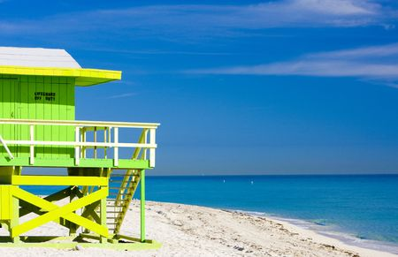 huts: cabin on the beach, Miami Beach, Florida, USA Stock Photo