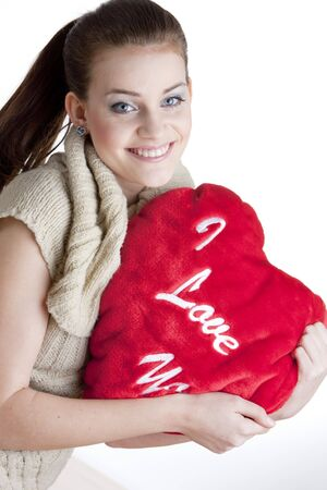 portrait of woman holding a heart Stock Photo - 5942372
