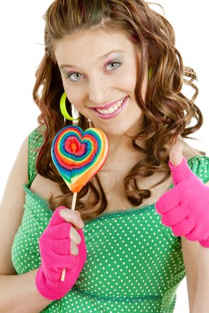portrait of young woman with a lollypop photo