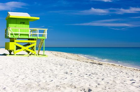 lifeguard: cabin on the beach, Miami Beach, Florida, USA Stock Photo