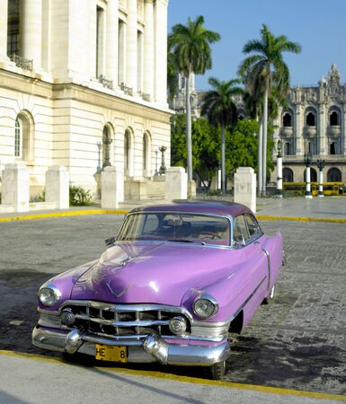 habana: old car in front of Capitol Building, Old Havana, Cuba Stock Photo