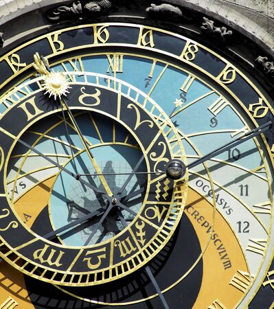 staromestke namesti: detail of Horloge, Old Town Hall, Prague, Czech Republic