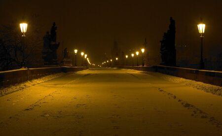 Charles bridge in winter, Prague, Czech Republic photo