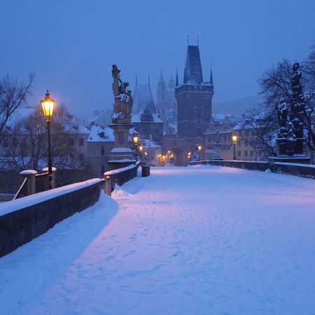 Charles bridge in winter, Prague, Czech Republic photo