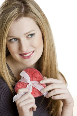 portrait of young woman with heart Stock Photo - 6156093