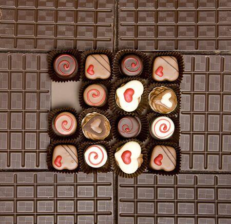 celebrate life: chocolate bars with chocolate candies Stock Photo