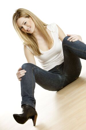 woman sitting on the floor photo