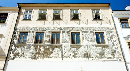 znojemsko: detail of renaissance house, Znojmo, Czech Republic Stock Photo