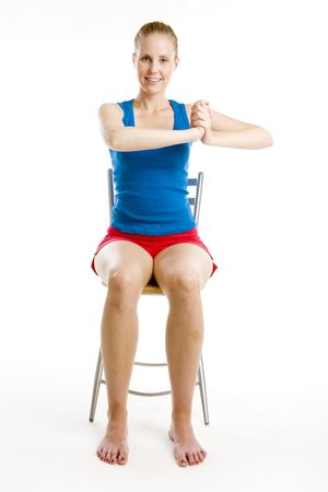 exercising woman sitting on chair