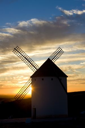 windmill at sunset, Campo de Criptana, Castile-La Mancha, Spain photo