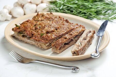 hash: minced beef meat hash filled with champignons and herbs Stock Photo