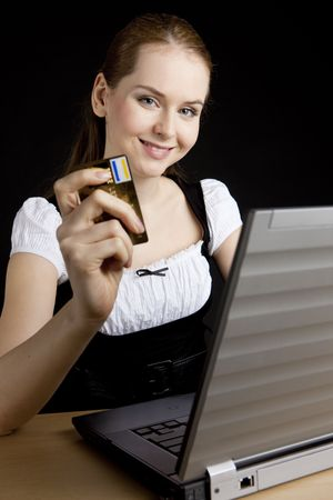 businesswoman with a notebook and boxing glove Stock Photo - 6620023