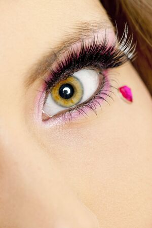 putting up: detail of womans makeup Stock Photo