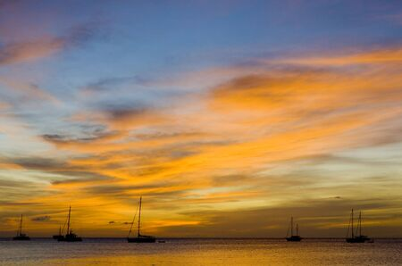 sunset over the Caribbean Sea, Grand Anse Bay, Grenada photo