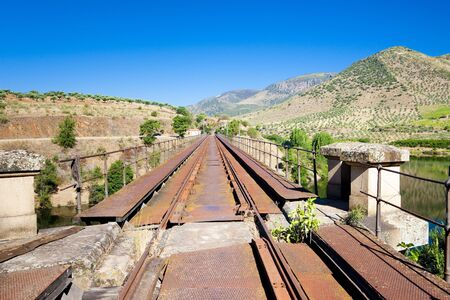 frontiers: railway viaduct near border of Portugal, Castile and Leon, Spain Stock Photo