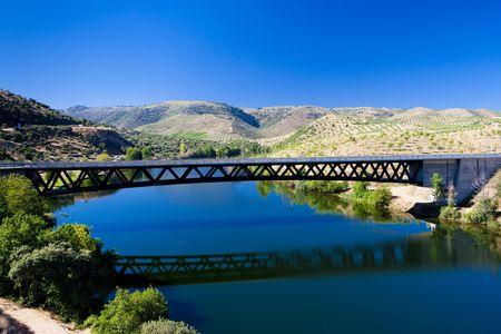 castile leon: railway viaduct near border of Portugal, Castile and Leon, Spain Stock Photo