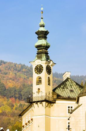 gildhalls: detail of town hall, Banska Stiavnica, Slovakia