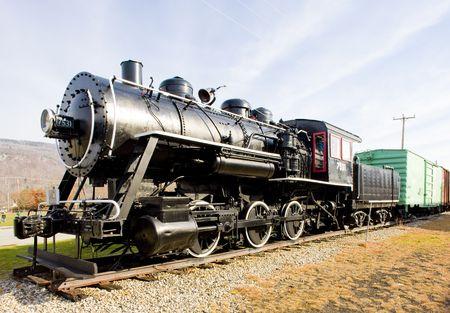 hampshire: locomotora de vapor en el Museo del ferrocarril, Gorham, New Hampshire, Estados Unidos Foto de archivo
