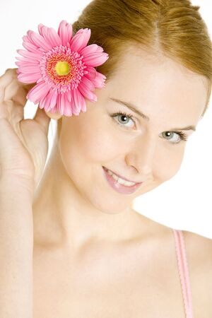 1 person: portrait of woman with gerbera Stock Photo