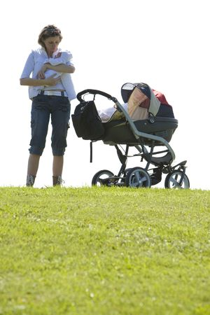woman with baby and pram photo