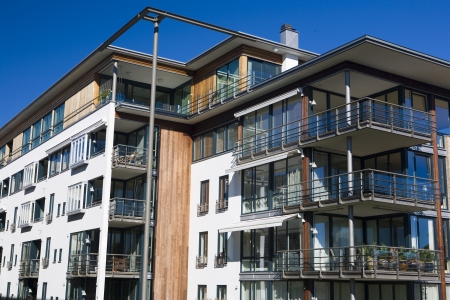 outside outdoor outdoors exterior: apartment building, Kristiansand, Norway Stock Photo