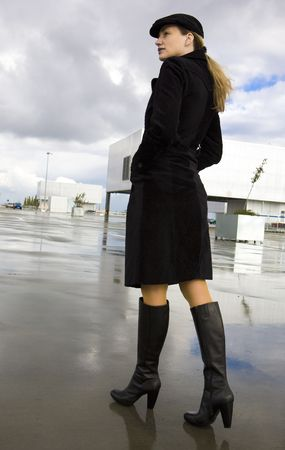 black boots: woman in the city