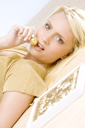 portrait of woman with chocolate Stock Photo - 6879514