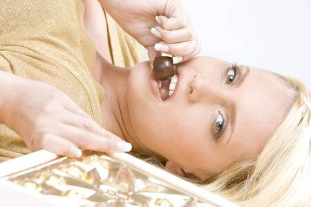 portrait of woman with chocolate Stock Photo - 6879501