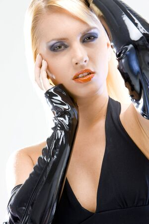 extravagancy: womans portrait in latex Stock Photo