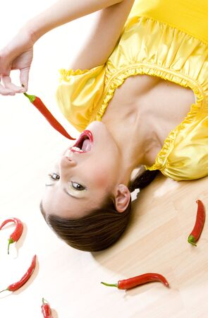 portrait of woman with chilis Stock Photo - 6879451
