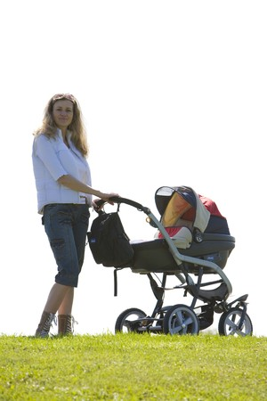 woman with pushing a pram photo