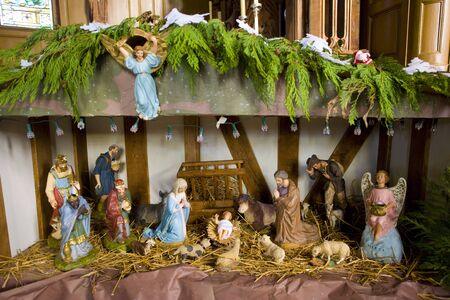 christmas grounds: crib, church in Outines, Champagne, France Stock Photo