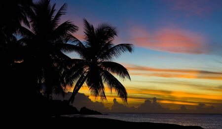 sunset over Caribbean Sea, Turtle Beach, Tobago Stock Photo