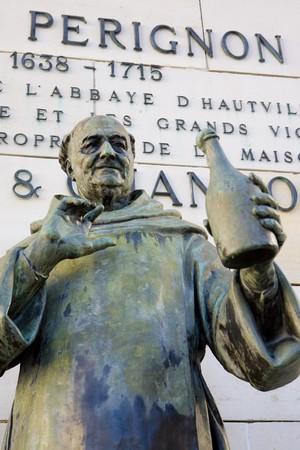 Dom Perignon statue, �pernay, Champagne Region, France