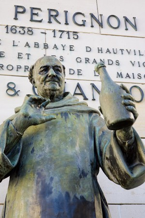 wine industry: Dom Perignon statue, �pernay, Champagne Region, France