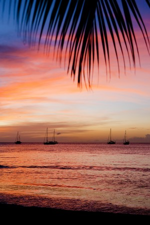 auroral: sunset over the Caribbean Sea, Grand Anse Bay, Grenada Stock Photo
