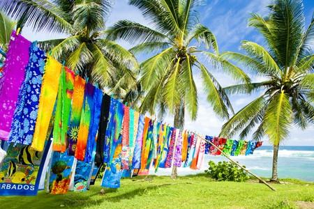 barbados: typical fabrics, Bathsheba, East coast of Barbados, Caribbean