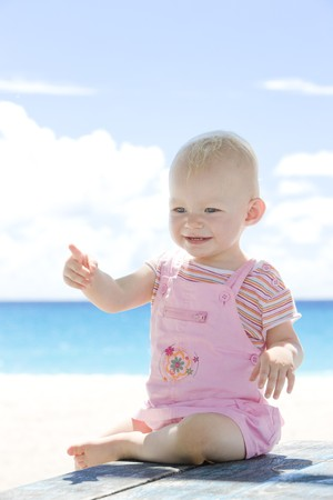 toddler on the beach, Barbados, Caribbean Stock Photo - 7162191