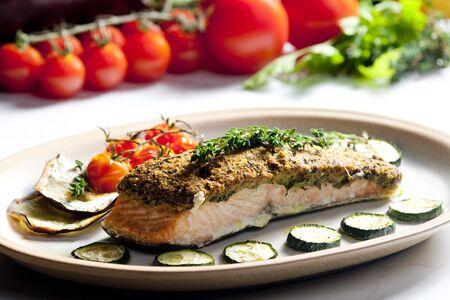 alimentation: baked salmon with herbs eschar