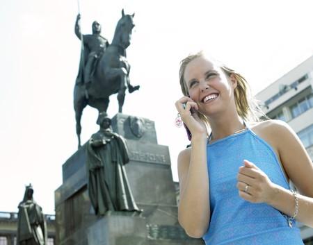 r�publique  tch�que: � la place de Wenceslaw, Prague, R�publique tch�que  Banque d'images
