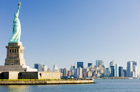 liberty: Statue of Liberty and Manhattan, New York City, USA Stock Photo