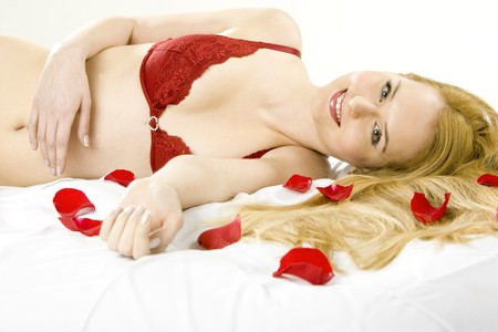 portrait of lying down woman with rose foils Stock Photo - 7218133