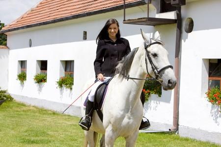single whip: equestrian on horseback