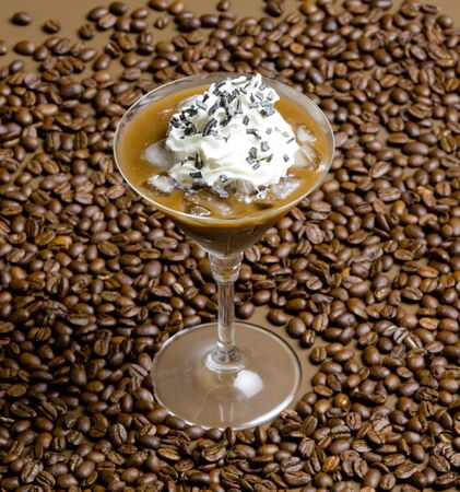 glass of ice coffee with whipped cream Stock Photo - 7344145