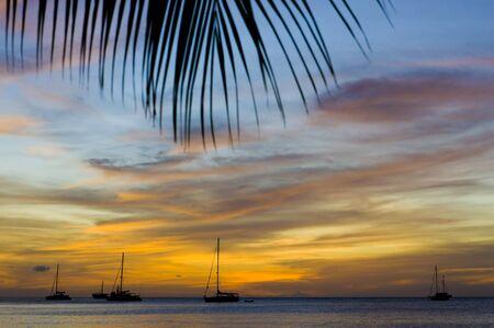 auroral: sunset over the Caribbean Sea, Grand Anse Bay, Grenada Stock Photo