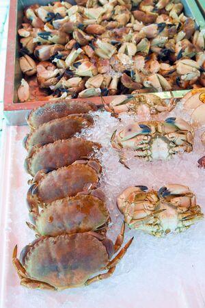 street market: crabs, street market in Bergen, Norway