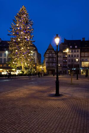 artificial lights: Place Broglie, Christmas time in Strasbourg, Alsace, France