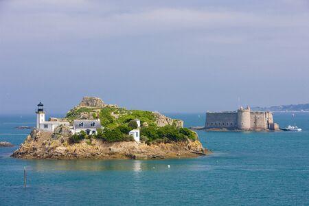 buidings: lighthouse and Chateau du Taureau, Pointe de Pen al Lann, Brittany, France