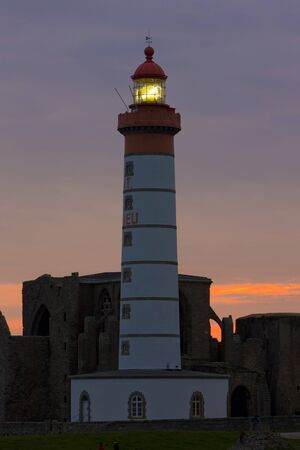 friaries: lighthouse and ruins of monastery, Pointe de Saint Mathieu, Brittany, France